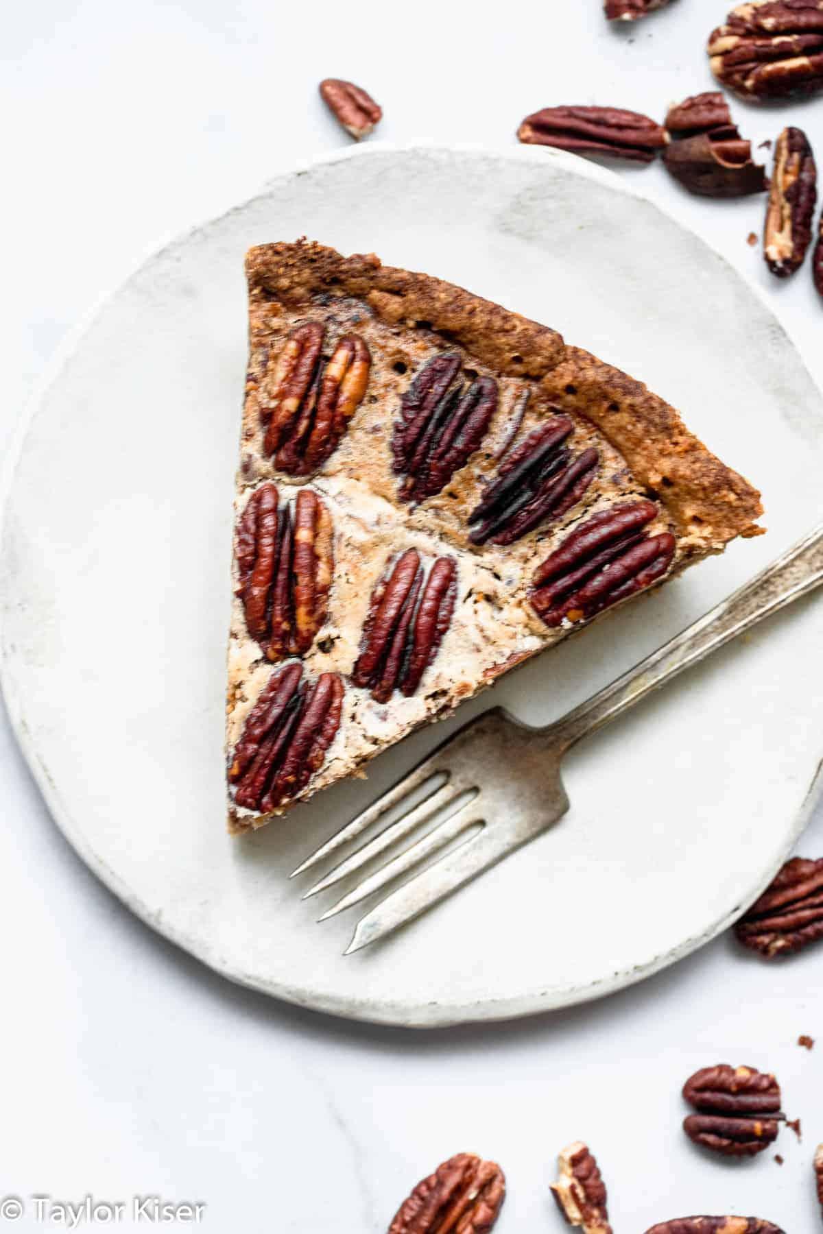 close up of sugar free low carb keto pecan pie