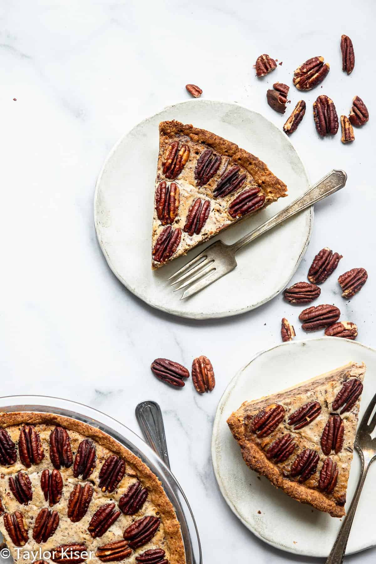 3 slices of sugar free pecan pie on plates