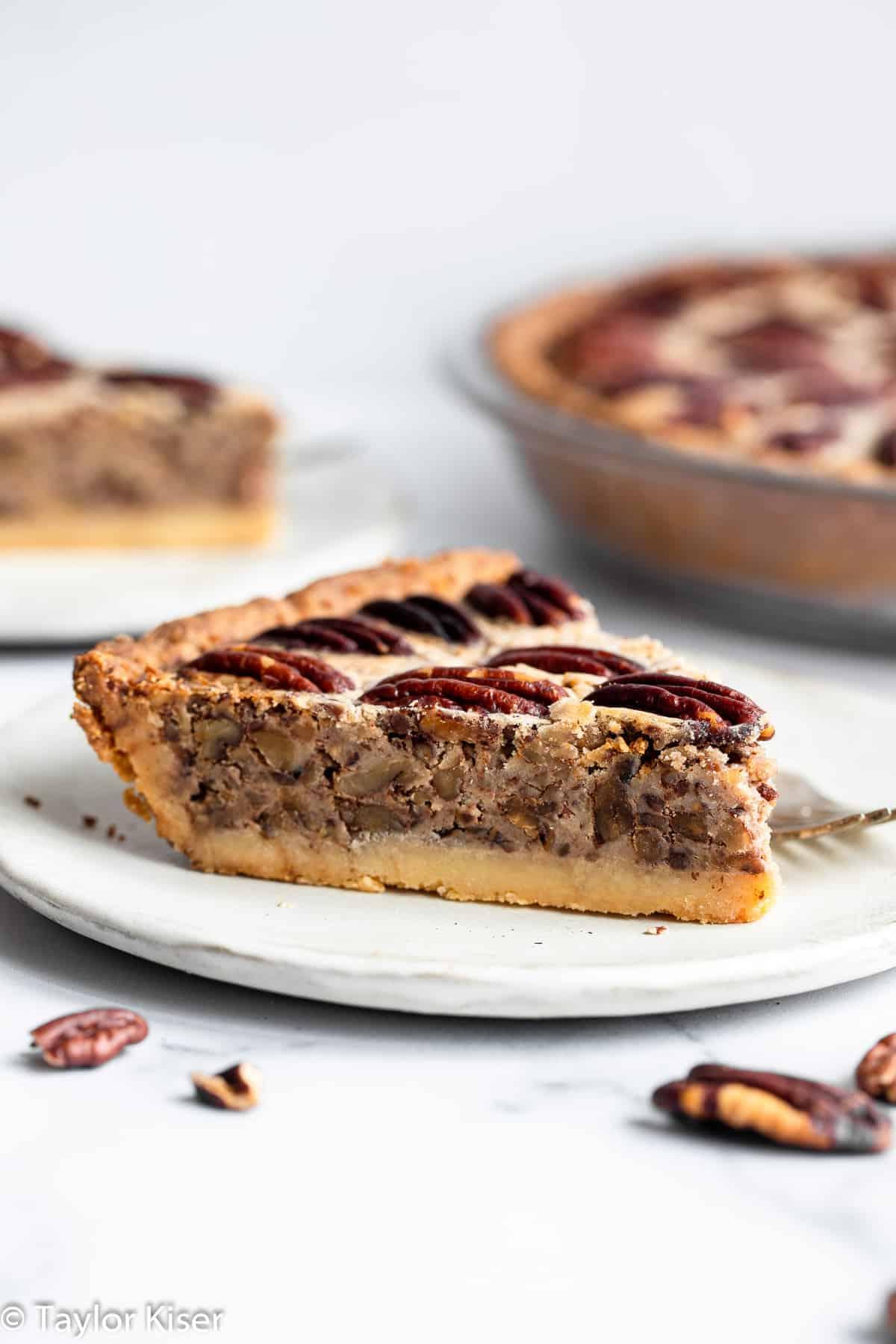 keto pecan pie on a plate