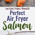 Air fryer salmon collage photo