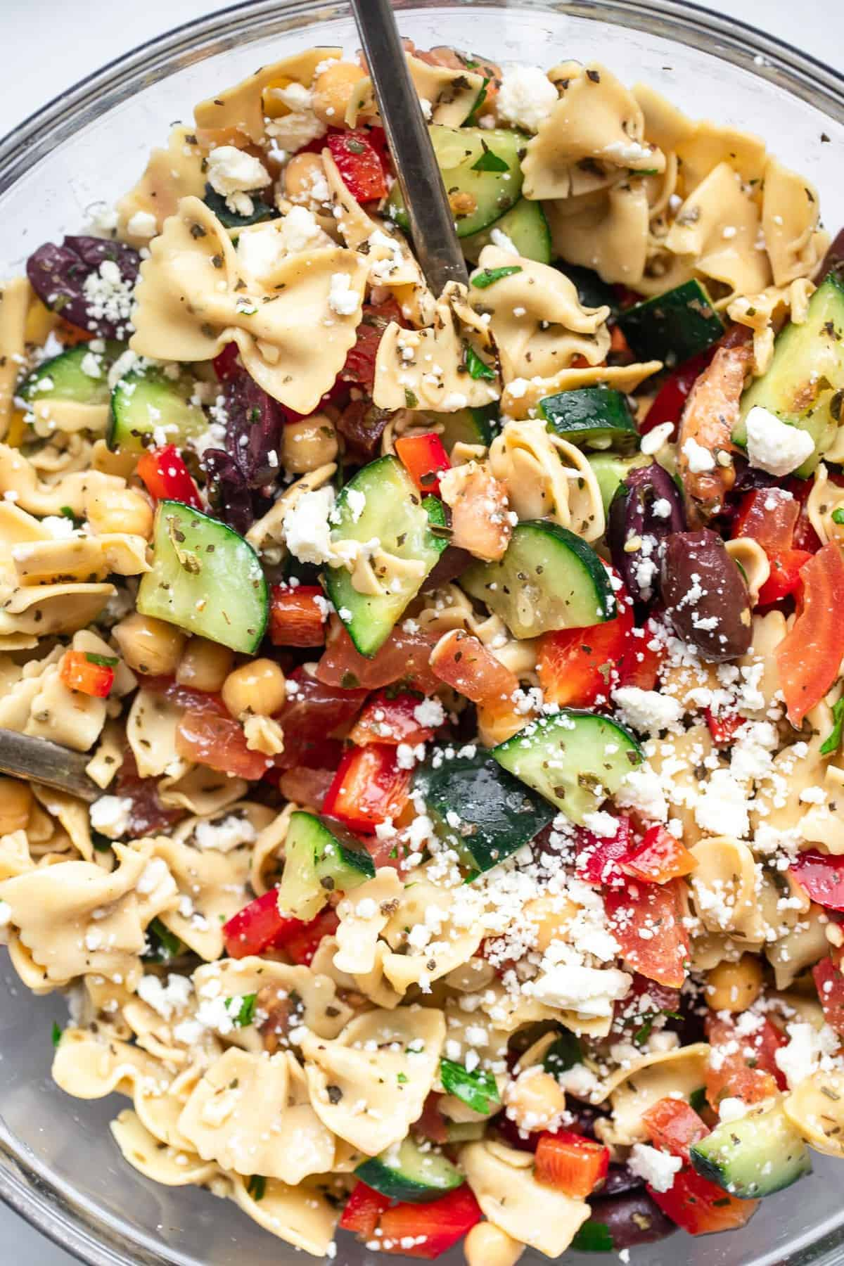Mediterranean Chickpea Pasta Salad in a large glass bowl