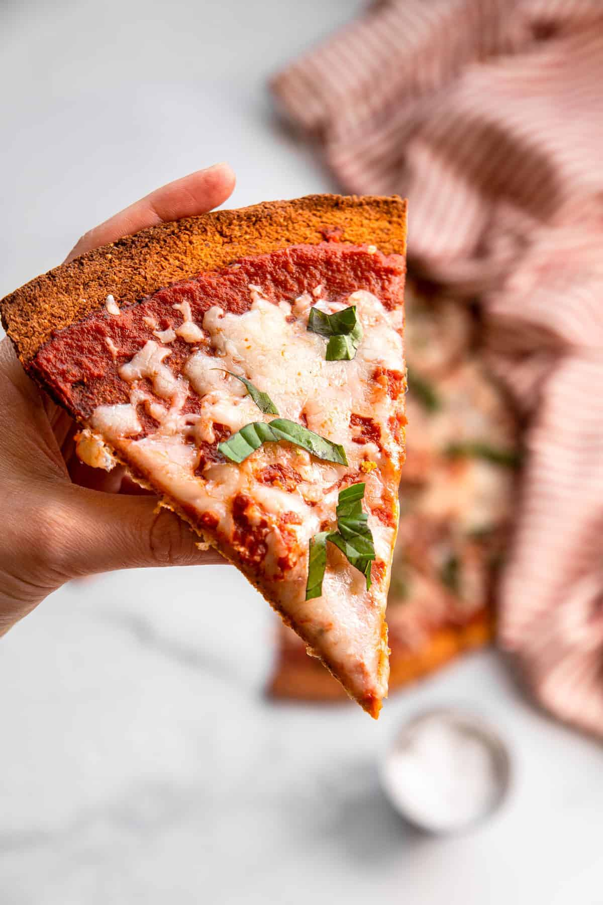 close up of Potato pizza crust cut into a slice