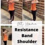 a woman in an orange shirt doing a workout with red resistance bands