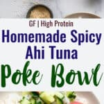 tuna poke bowl recipe collage photo