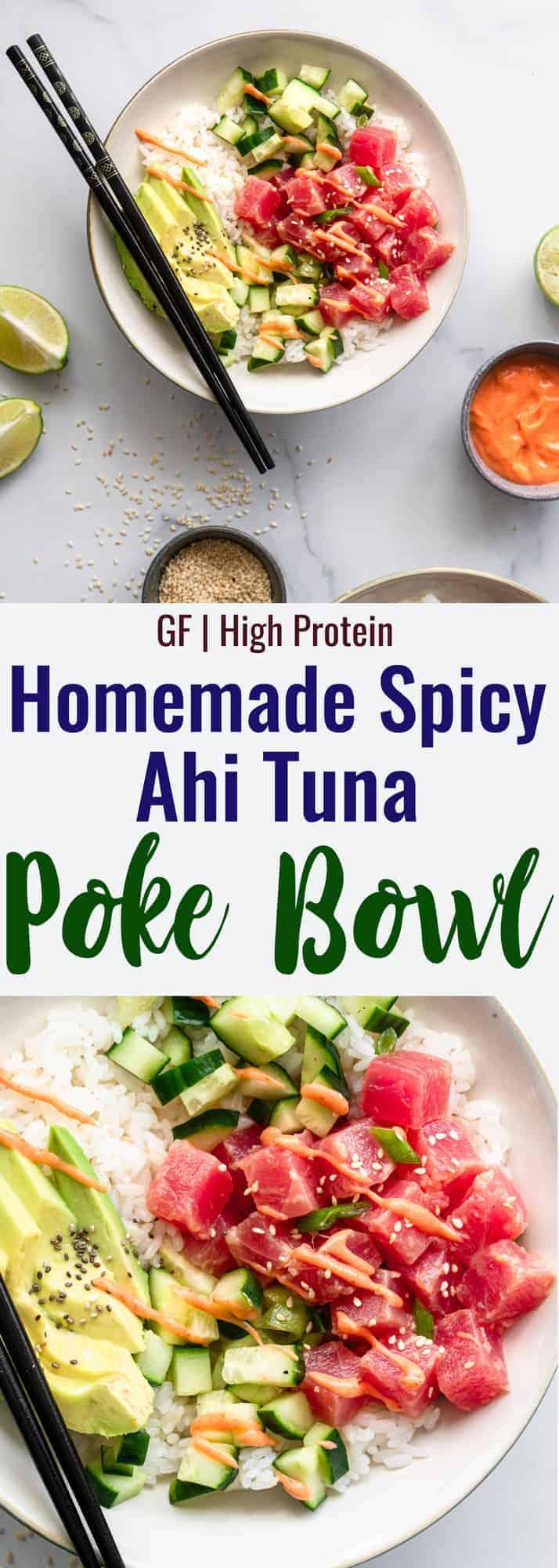 tuna poke bowl recipe collage photo