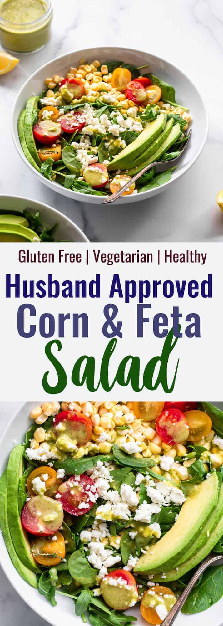 corn feta salad collage photo