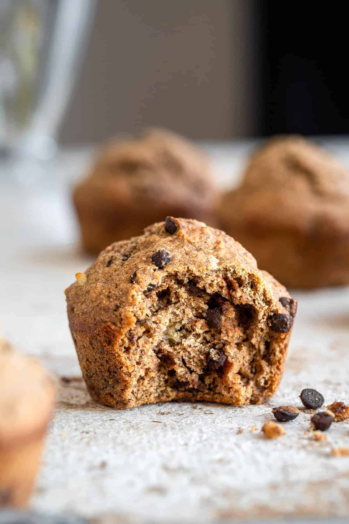 close up of the inside of whole wheat banana muffins