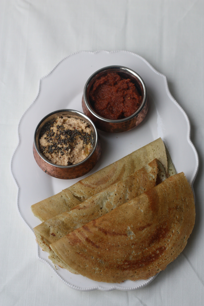 DOSA with PEANUT CHUTNEY(a perfect South Indian breakfast)