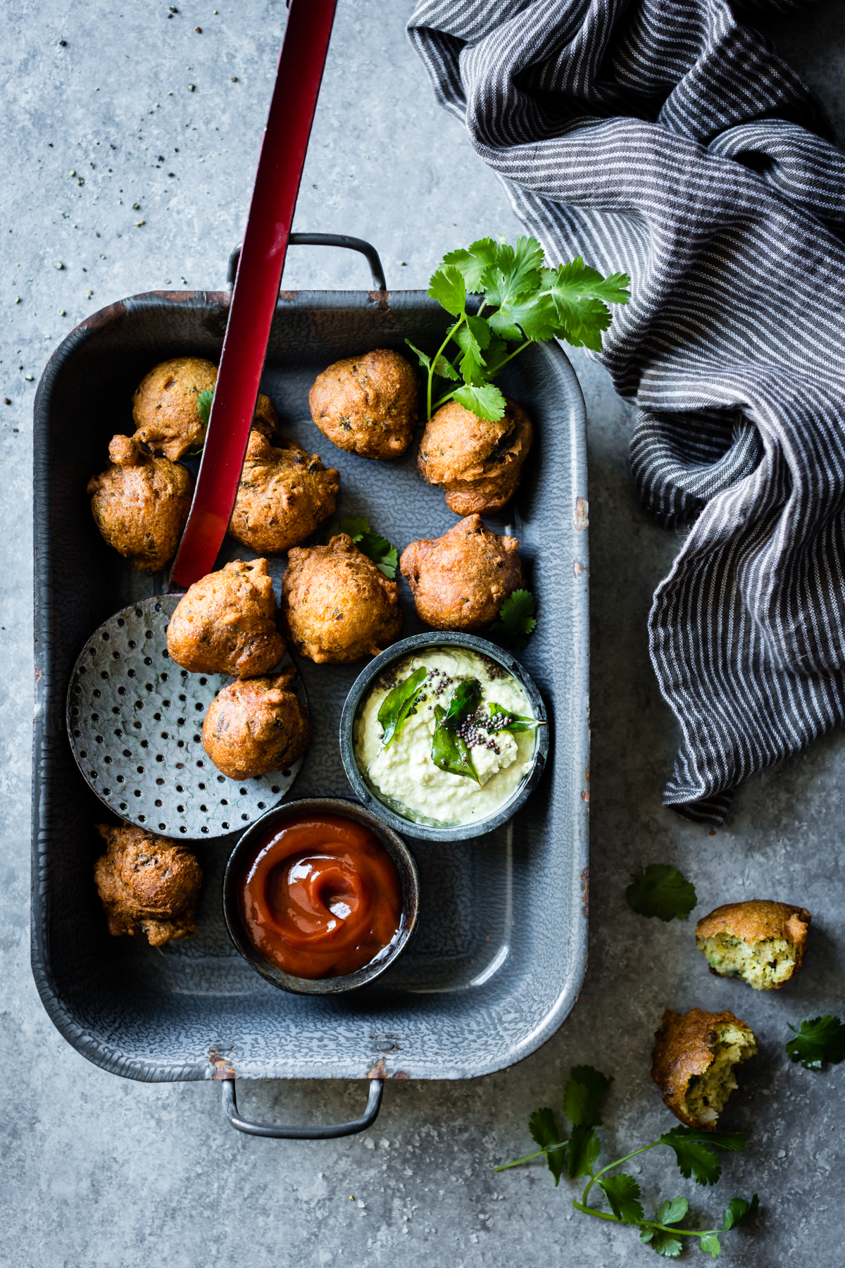Spiced Hush Puppies with Coconut Chutney , Masala and Meatballs #indiancookbook #indianfood