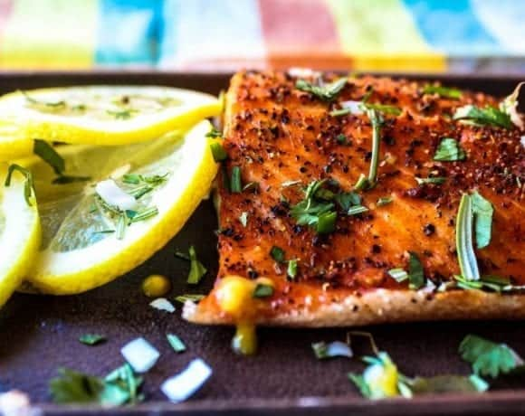grilled trout with lemons