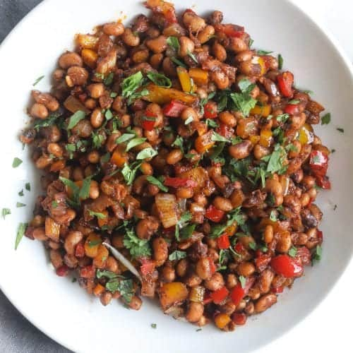 bowl of fried black eyed peas