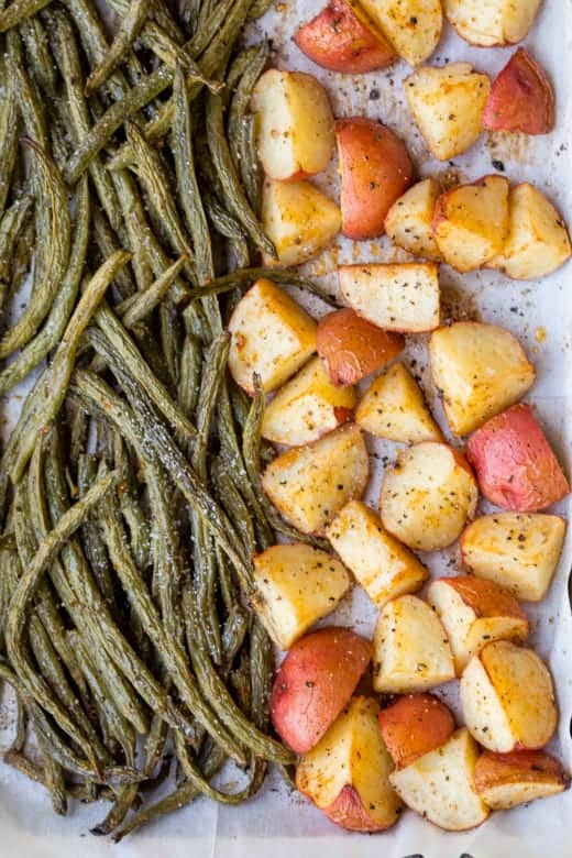 sheet pan potatoes and green beans