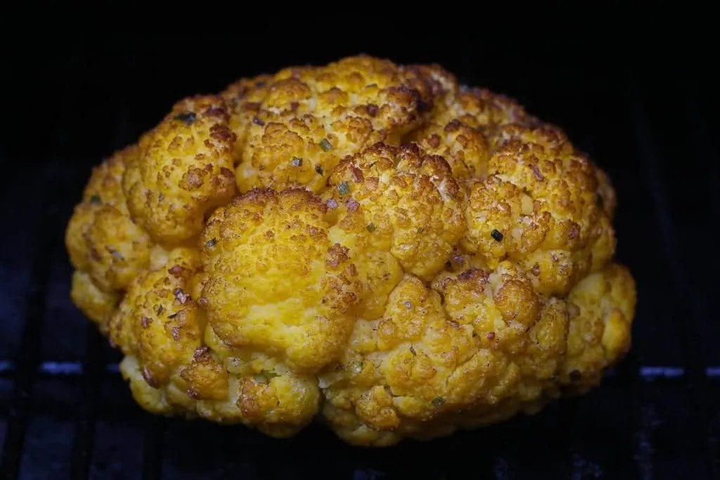 cauliflower smoking on the grill