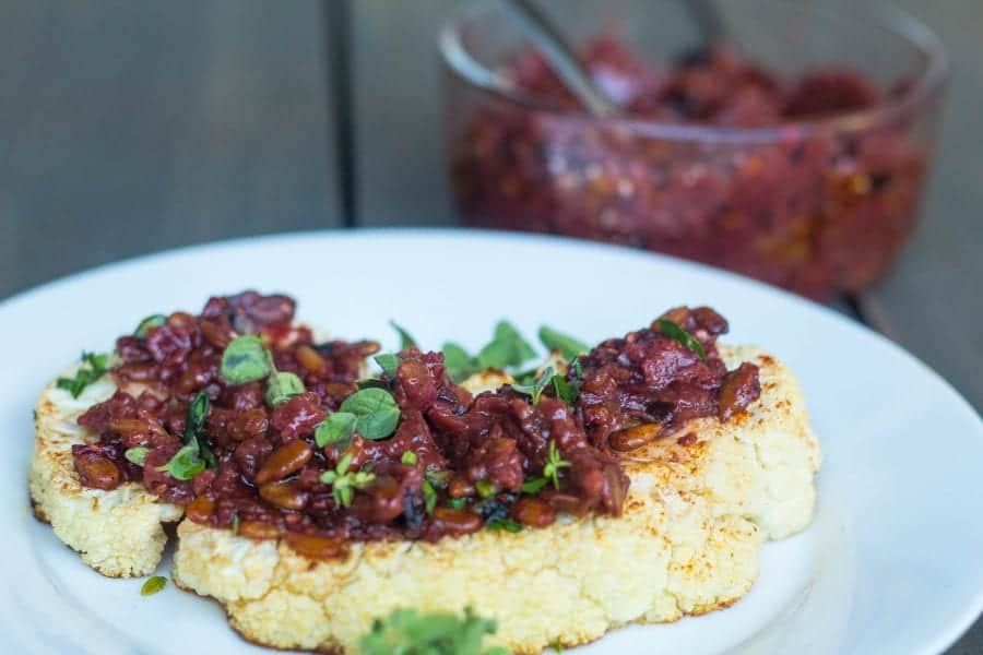 roasted cauliflower with raspberry sofrito