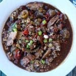 smoked duck and andouille gumbo in a bowl