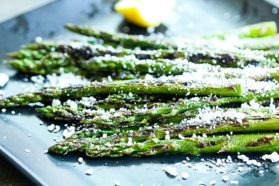 grilled asparagus with cotija cheese topping