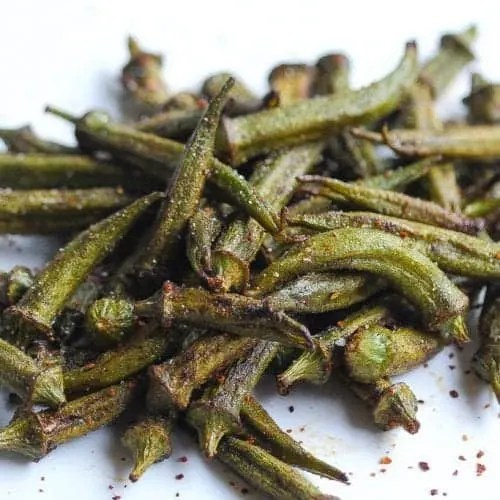 """Afraid"" crispy roasted okra"