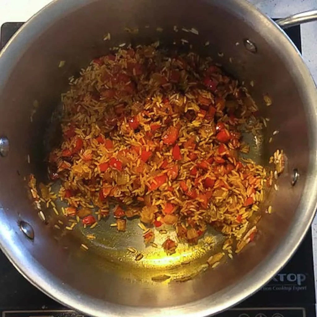 peppers and rice sauteing