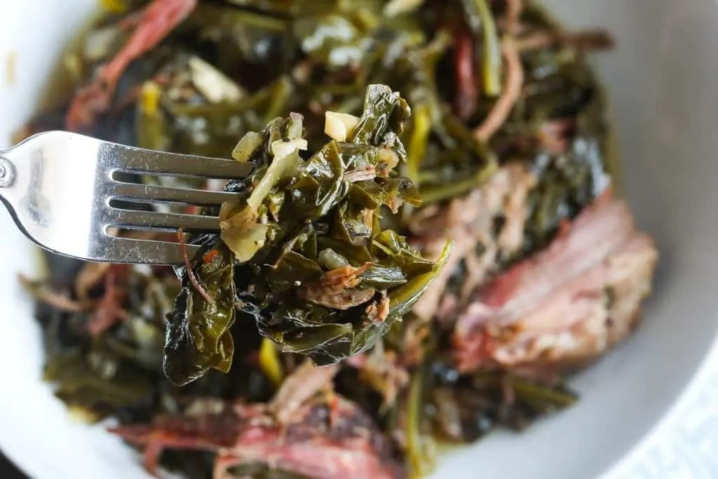 forkful of instant pot collard greens