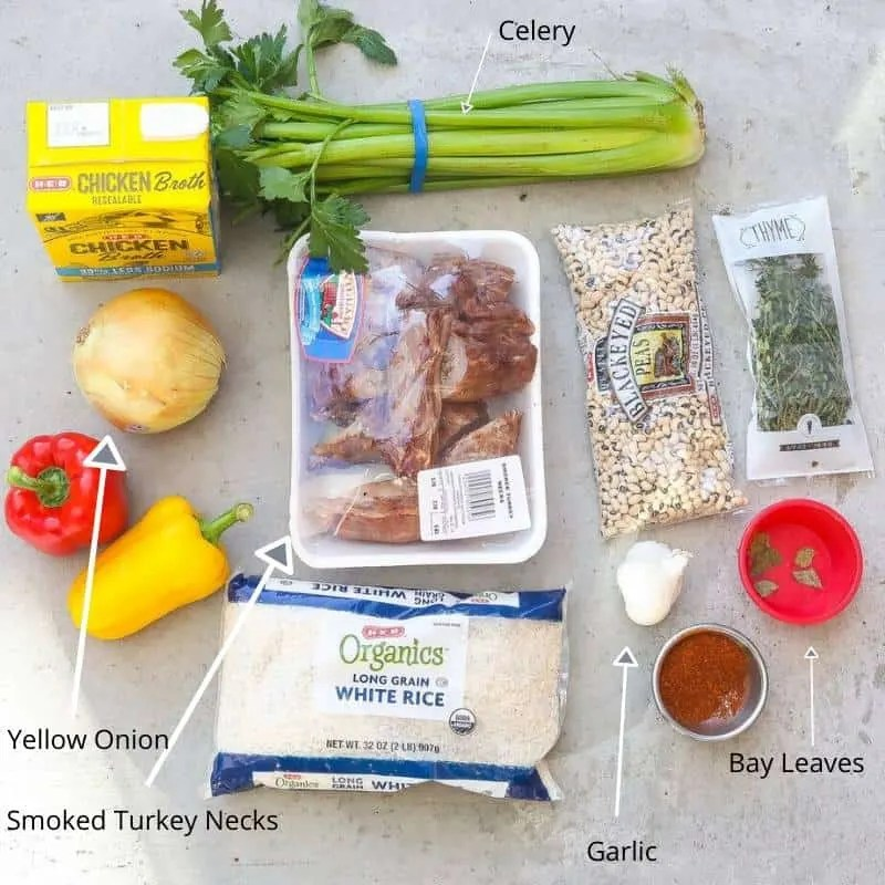ingredients for hoppin john recipe laid out