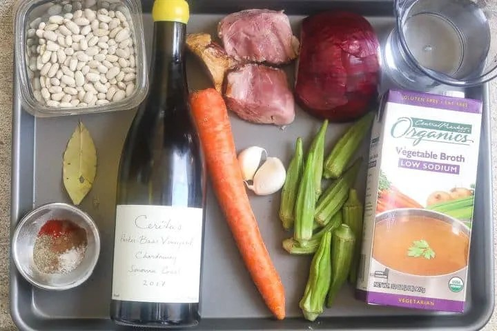 ingredients for beans and ham on a tray