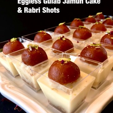Eggless Gulab Jamun Cake and Rabri Shots