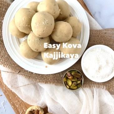 Kova Kajjikaya-Easy recipe using frozen coconut and Instant Khoya