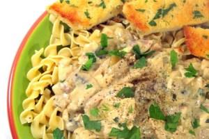 Chicken Mushroom Stroganoff over Egg Noodles