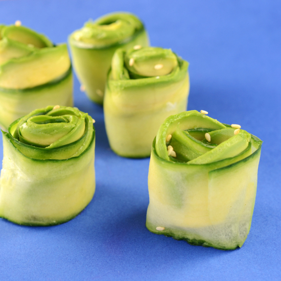 "Cucumber and Avocado ""Roses"""