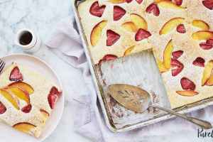Sheet Tray Pancakes with Peaches and Strawberries