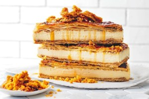 Honey vanilla slice with honeycomb