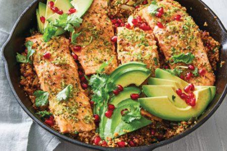 Skillet-Roasted Salmon with Avocado, Pomegranate, and Bulgur