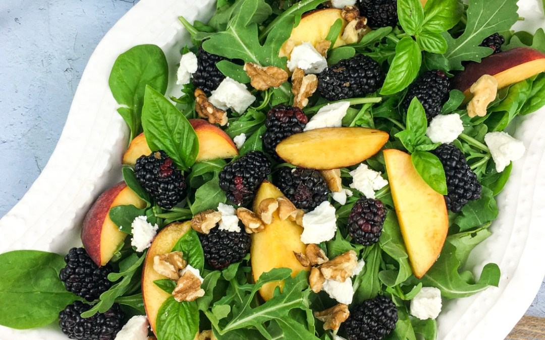 Peach Blackberry Salad with Blackberry-Basil Vinaigrett