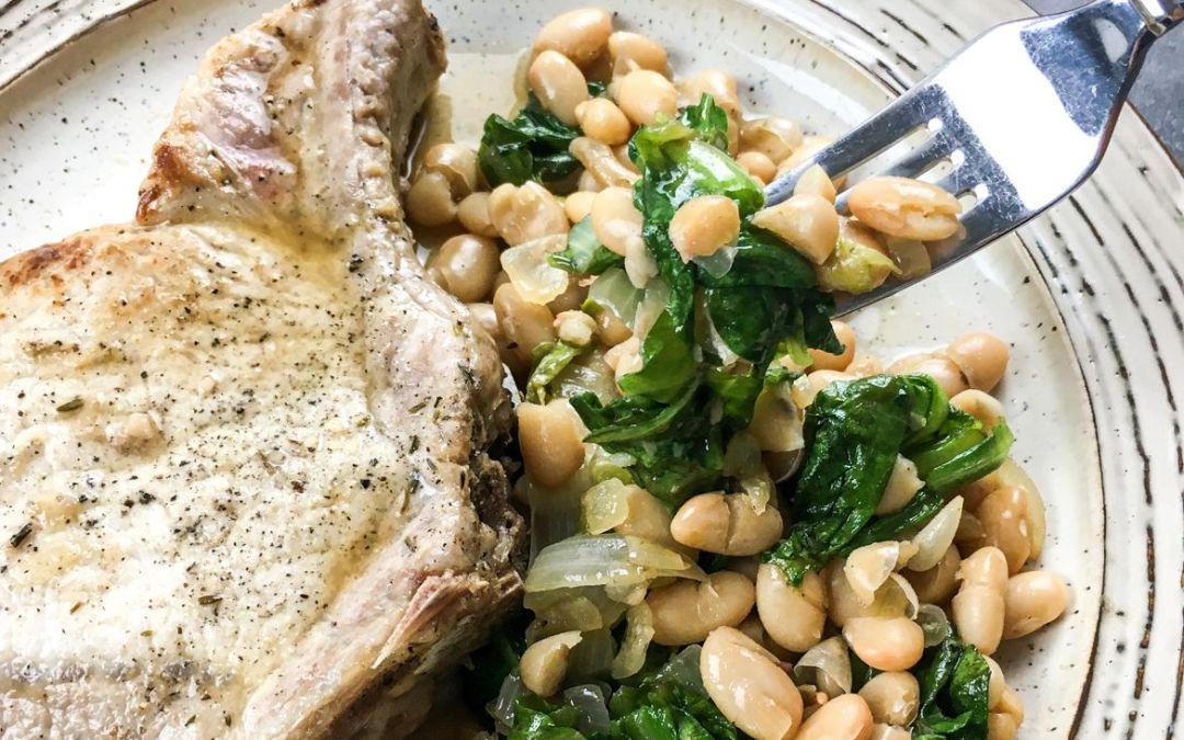 Bone-In Pork Chops with White Beans & Escarole