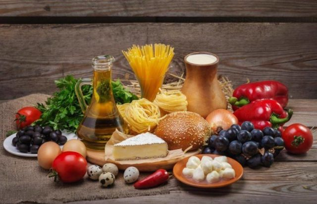 Fat and carbs foods set on the table, Mentrual cycle