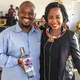 "Yongama Skweyiya pictured with chef Mogau Seshoene, also known as ""The Lazy Makoti"""