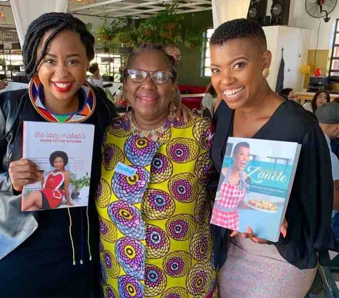 Celebrity chefs Mogau Seshoene known as The Lazy Makoti (left) and Zanele van Zyl (right) pictured with Sitole (middle).