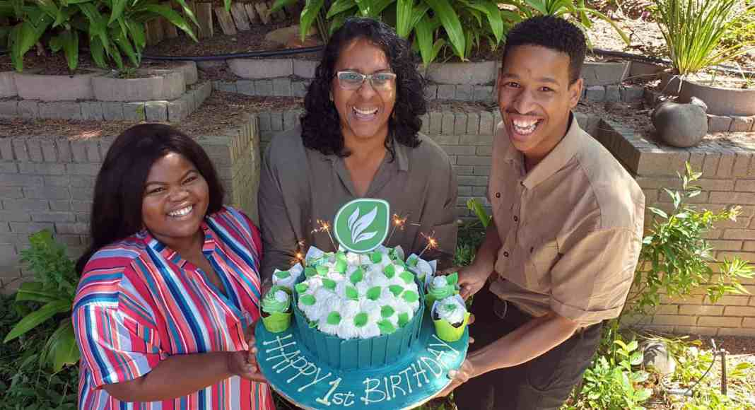 Food For Mzansi team celebrating their first birthday. Pictured from left to right: Food For Mzansi journalist, Noluthando Ngcakani, editor Dawn Noemdoe and journalist Duncan Masiwa.