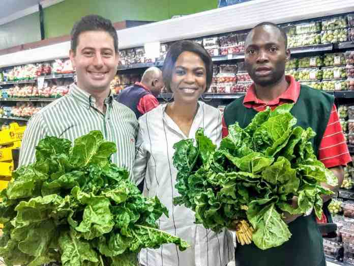 Karabo pictured with Rustenburg Square Spar manager, Jan and Mutyanda Archbold.
