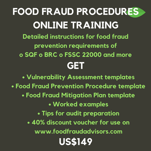 training course,food fraud,sqf edition8,fssc version 4.1,brc issue7