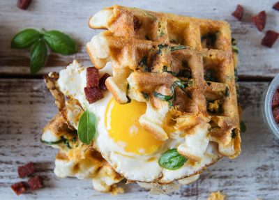 Chorizo, Cheddar and Spinach Waffles