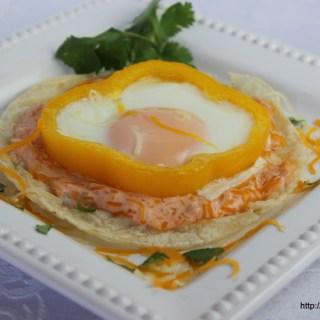 Egg Tostada with Salsa Cream Sauce