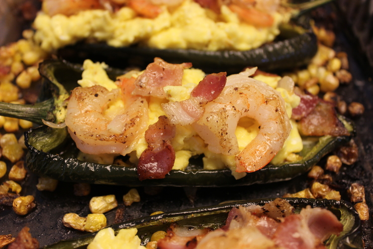 60.3 Poblano Pepper Stuffed with Eggs, Shrimp and Bacon