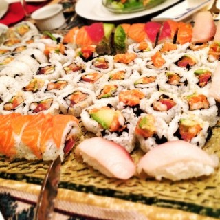 Tuna, Salmon and Shrimp Tempura Sushi Rolls