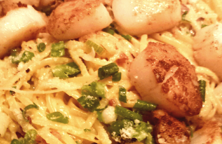 Pasta Carbonara with Scallops