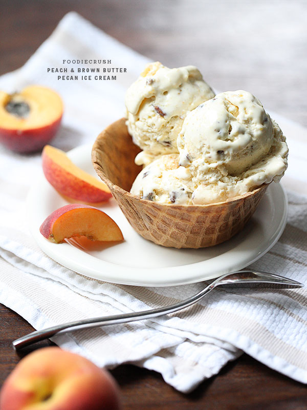 Peach and Brown Butter Pecan Ice Cream