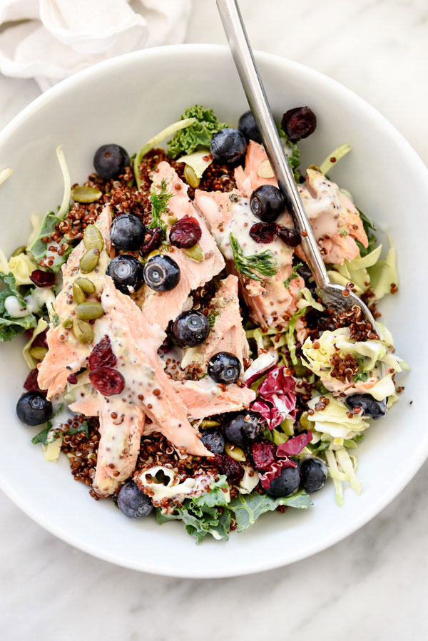 Superfood Salad with Poppy Seed Dressing   foodiecrush.com #recipe #salmon #dressing #kale #easy #quinoa