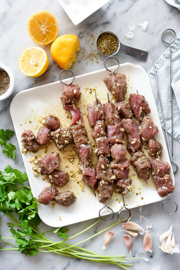 Pork Souvlaki with Lemon Rice is one of my favorite Greek recipes and comes out juicy from the grill every time #recipe #pork   foodiecrush.com