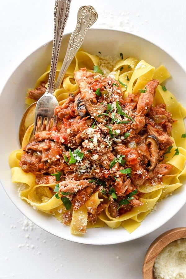 Slow Cooker Chicken Cacciatore | #slowcooker #easy #Italian #recipe foodiecrush.com