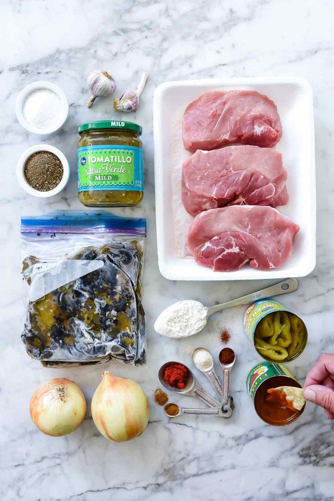 Ingredients for Quick and Easy Homemade Chile Verde Burritos   #chile #verde #pork #quick #easy #recipe #dinner #burritos foodiecrush.com